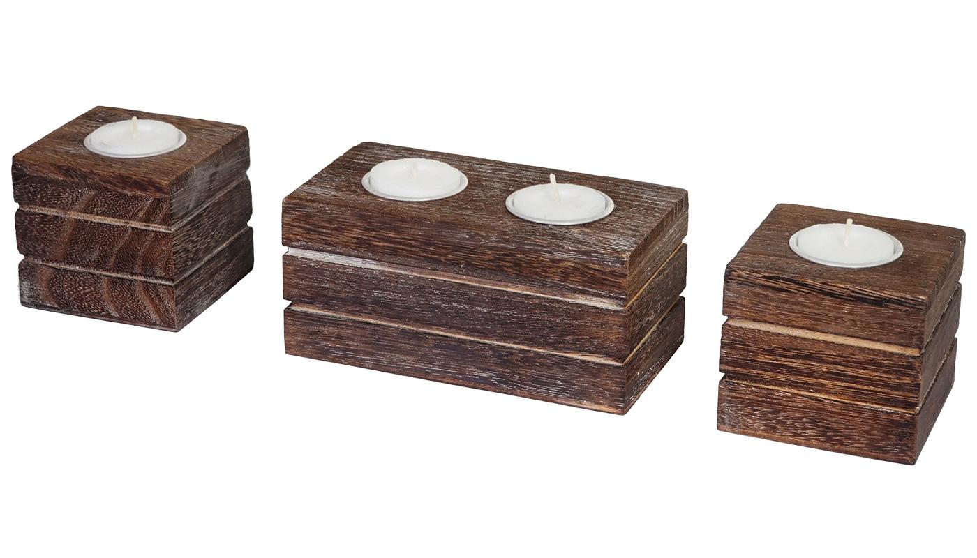 Teelichtständer 4er Set Teelichthalter Tolve Shabby-Look Vintage braun