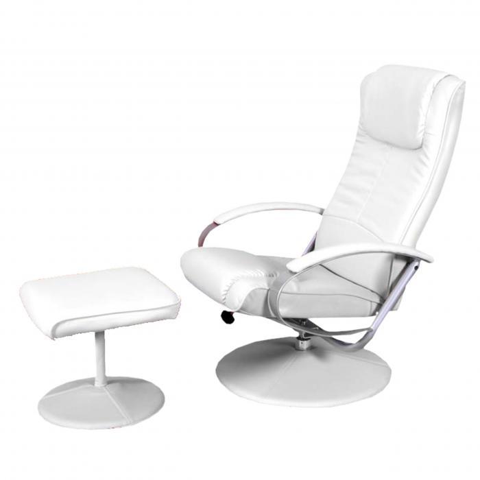 Relaxsessel garten weiß  Relaxsessel Fernsehsessel N44 mit Hocker ~ weiß