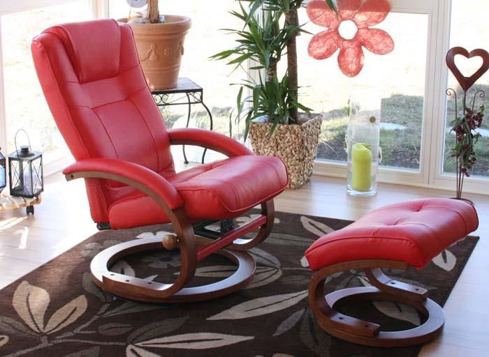 fernsehsessel relaxsessel sessel pescatori kunstleder mit hocker rot. Black Bedroom Furniture Sets. Home Design Ideas