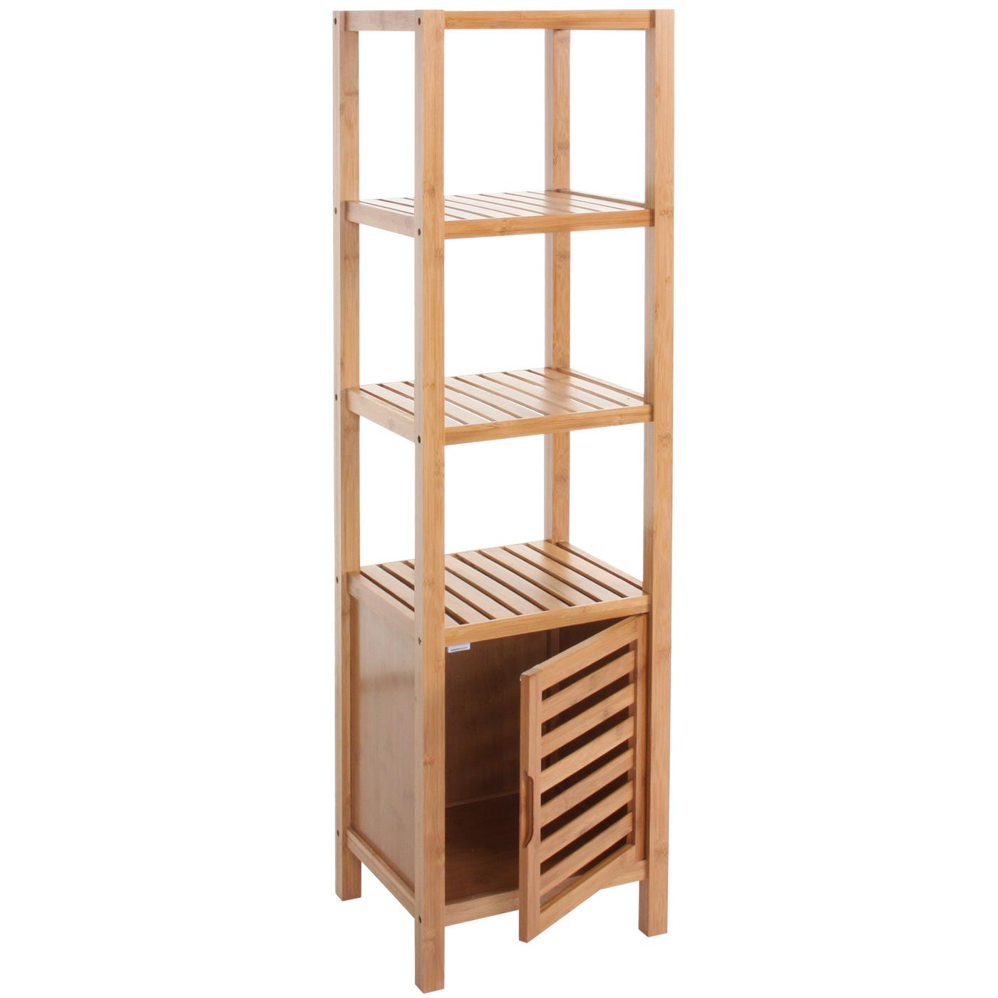 Badezimmer Set Nara, Badschrank Standregal Wäschekorb, Bambus 3-teilig | {Badschrank bambus 91}