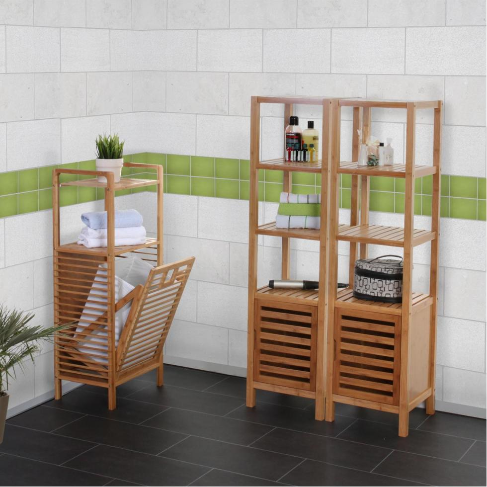 badezimmer set nara badschrank standregal w schekorb bambus 3 teilig ebay. Black Bedroom Furniture Sets. Home Design Ideas
