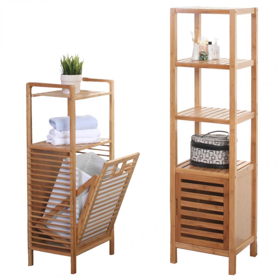 badezimmer set narita badschrank standregal w schekorb bambus ebay. Black Bedroom Furniture Sets. Home Design Ideas
