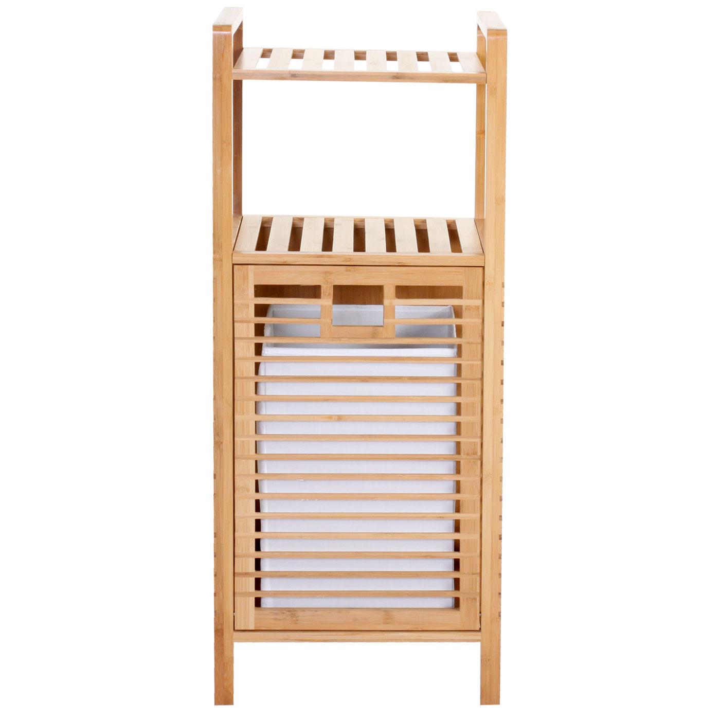 serie legno bambu narita arredo bagno scaffale a 2 ripiani con portabiancheria d ebay. Black Bedroom Furniture Sets. Home Design Ideas