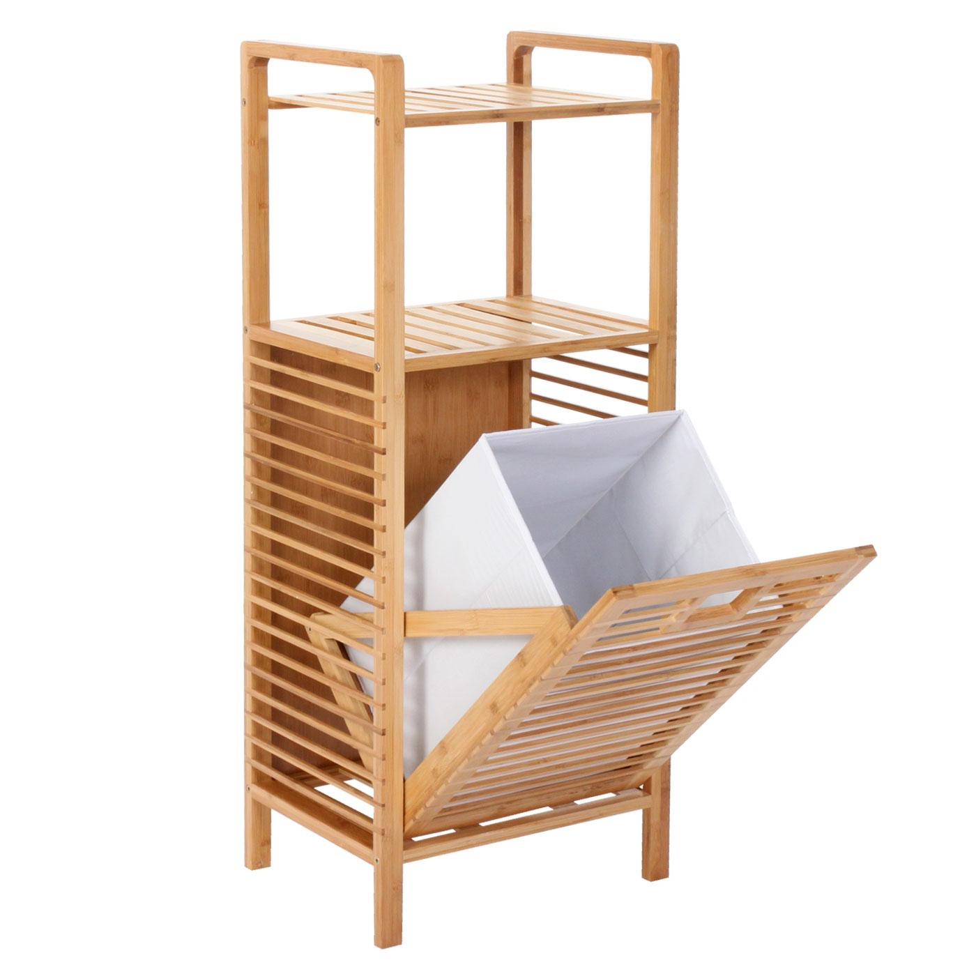 Serie legno bambu narita arredo bagno scaffale a 2 ripiani - Mobile bagno con portabiancheria ...