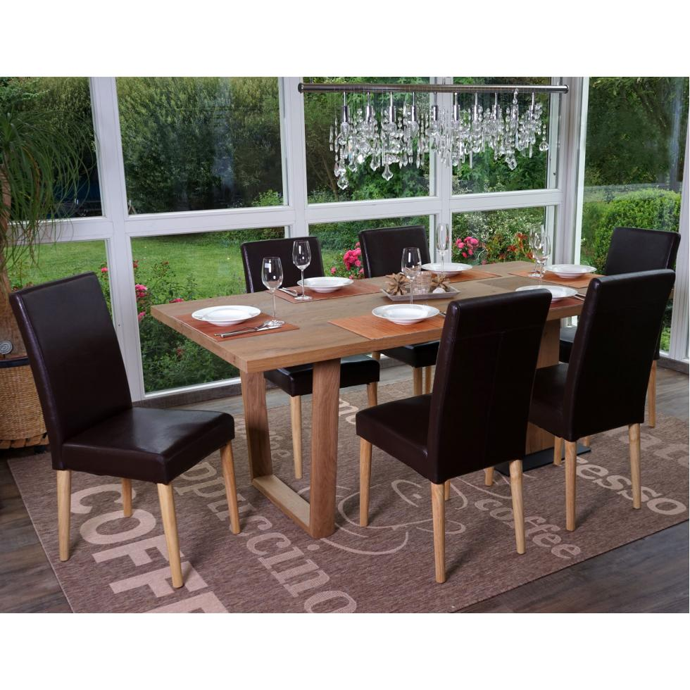 6x esszimmerstuhl lublin stuhl lehnstuhl kunstleder braun runde helle beine 4057651105154 ebay. Black Bedroom Furniture Sets. Home Design Ideas