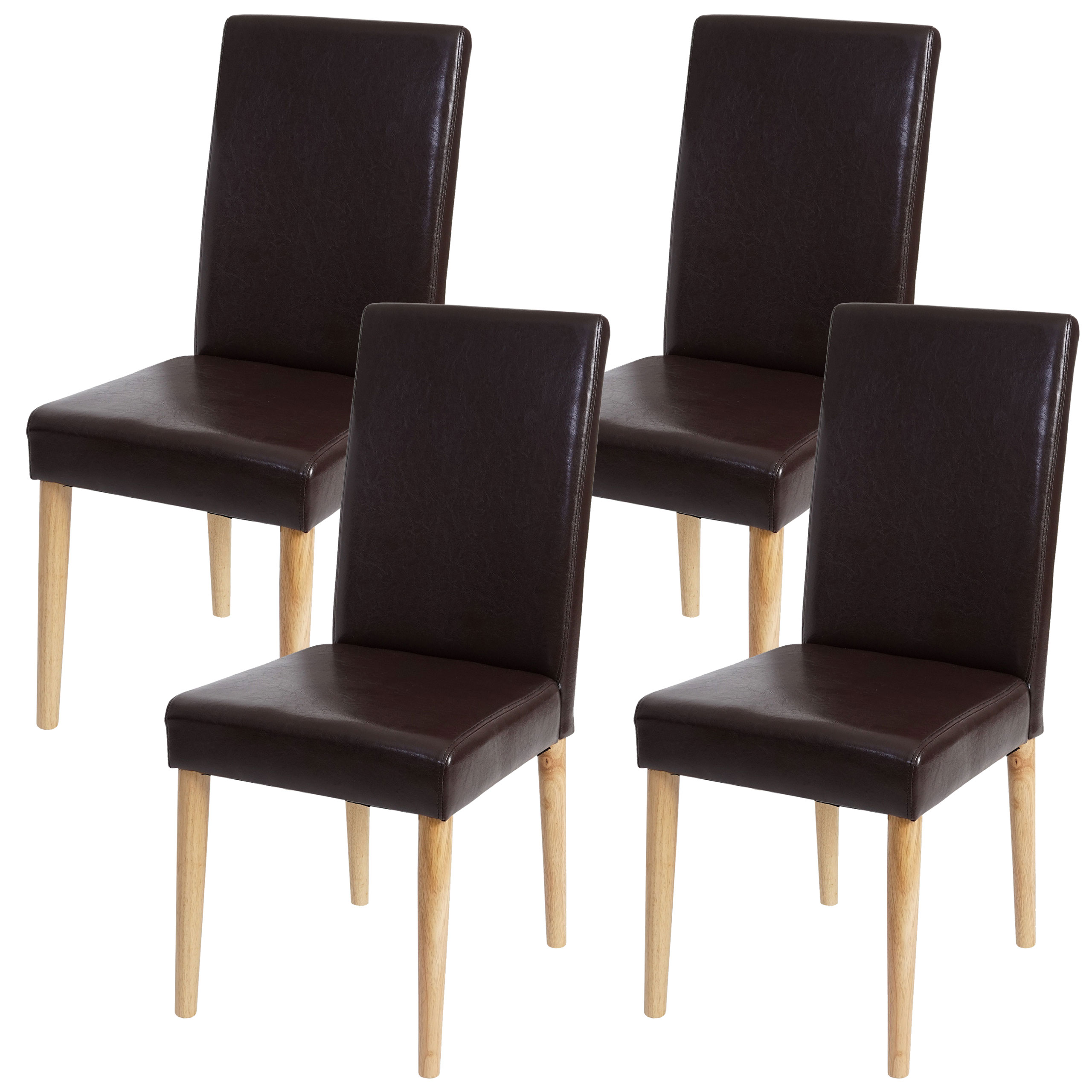 4x esszimmerstuhl leslau stuhl lehnstuhl kunstleder for Stuhl braun kunstleder