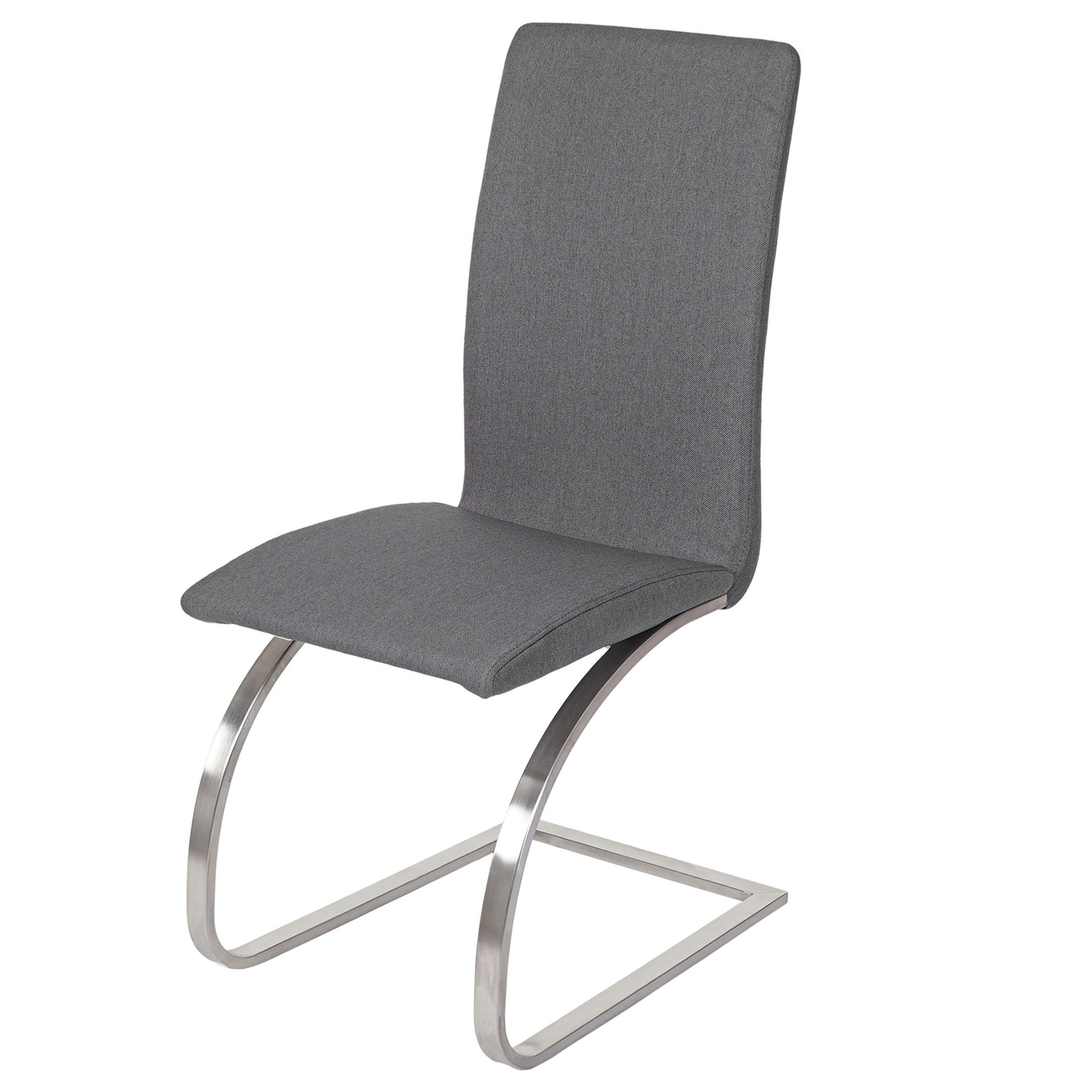 Détails sur 2x chaise de salle à manger Nord, chaise cantilever, fauteuil, tissu, gris