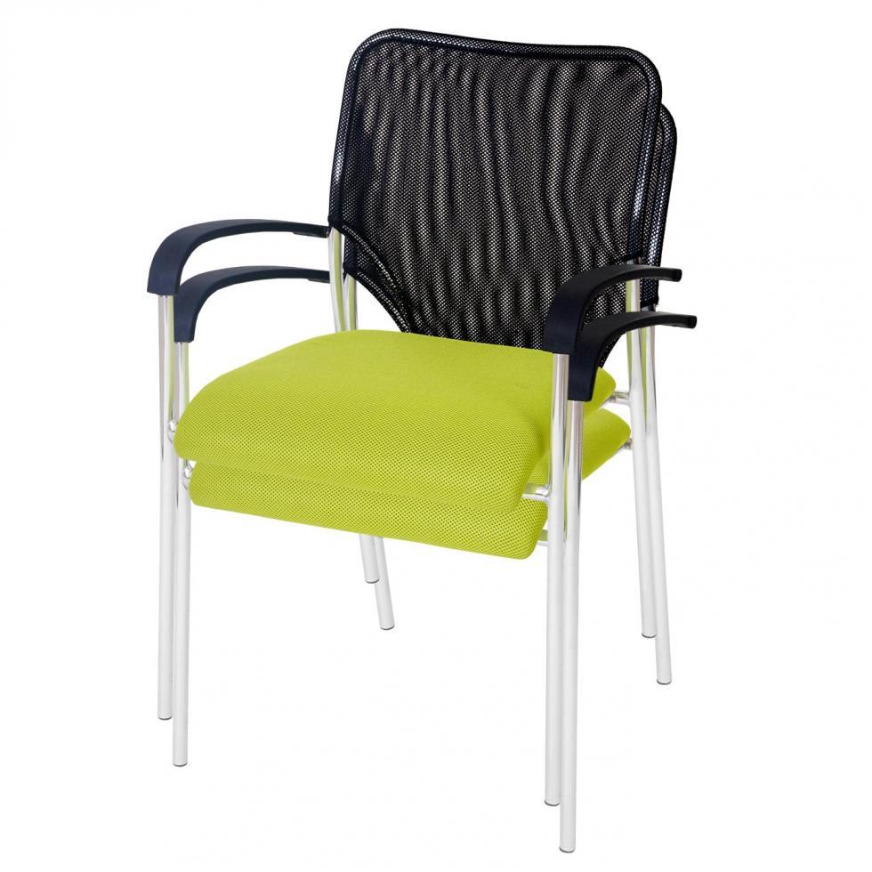 2x besucherstuhl tucson stapelbar textil sitz gr n r ckenfl che schwarz ebay. Black Bedroom Furniture Sets. Home Design Ideas