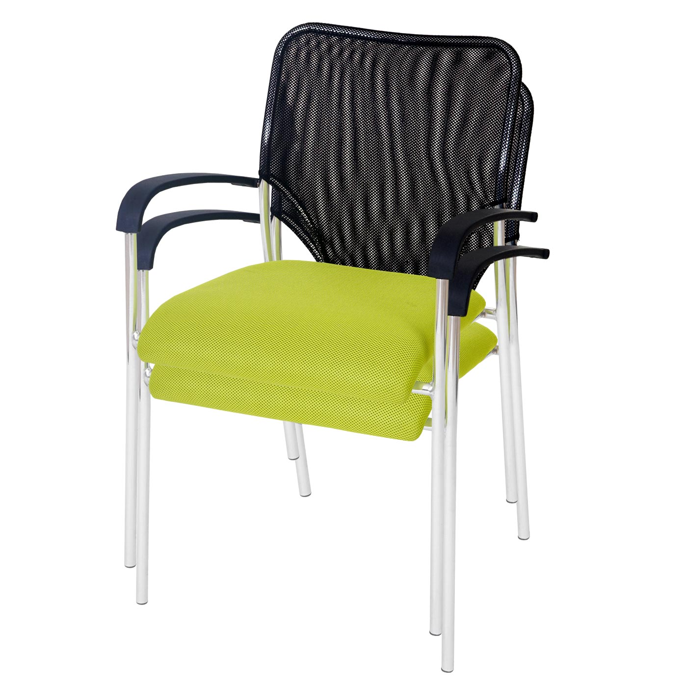 Konferenzstuhl 2er Set Konferenzstühle Besucherstuhl grün mit Armlehnen Praxis