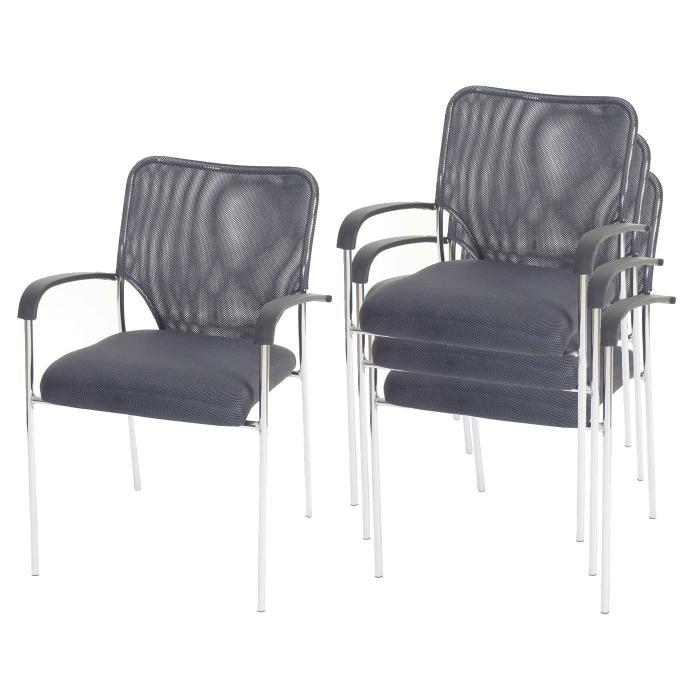 Konferenzstuhl stapelbar  Besucherstuhl Tulsa, Konferenzstuhl stapelbar, Textil ~ Sitz grau ...