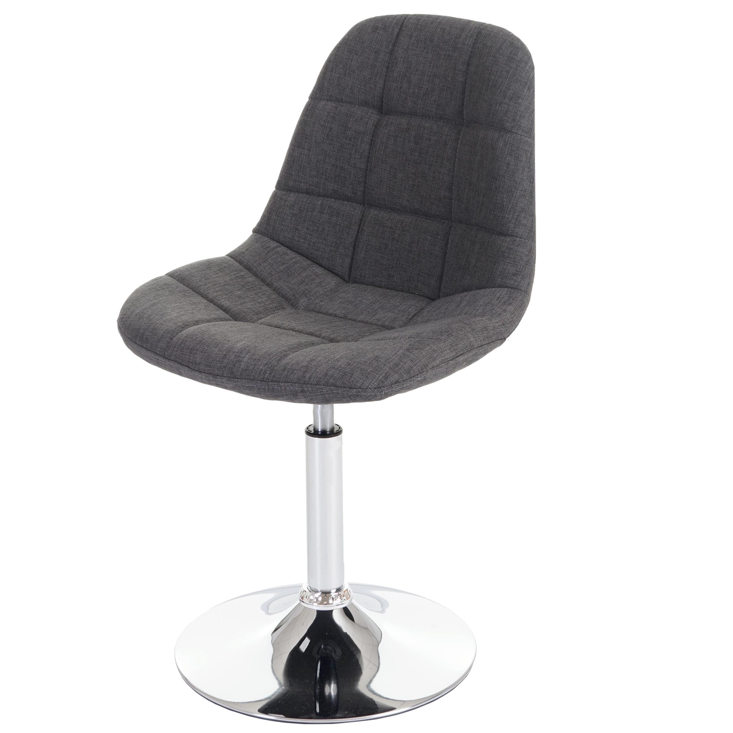 Chrom Textil Dunkelgrau 2x Esszimmerstuhl MCW-A60 Drehstuhl Stuhl