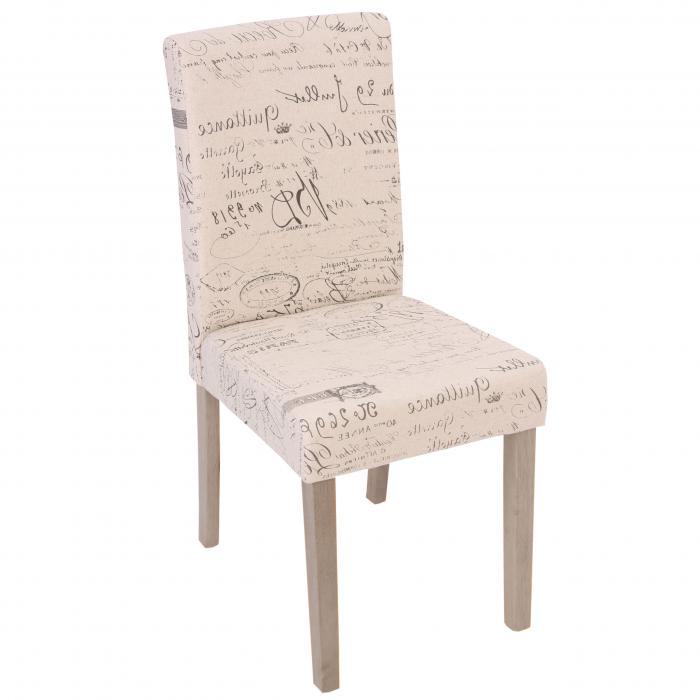 4x esszimmerstuhl littau stuhl lehnstuhl textil mit schriftzug creme beine struktur eiche. Black Bedroom Furniture Sets. Home Design Ideas