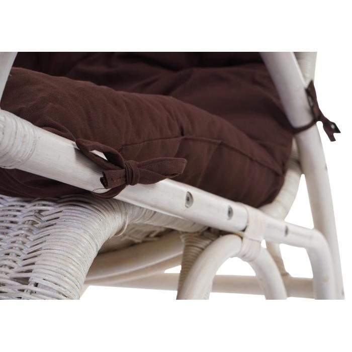 schaukelstuhl esmeraldas schwingsessel rattansessel wei auflage braun. Black Bedroom Furniture Sets. Home Design Ideas