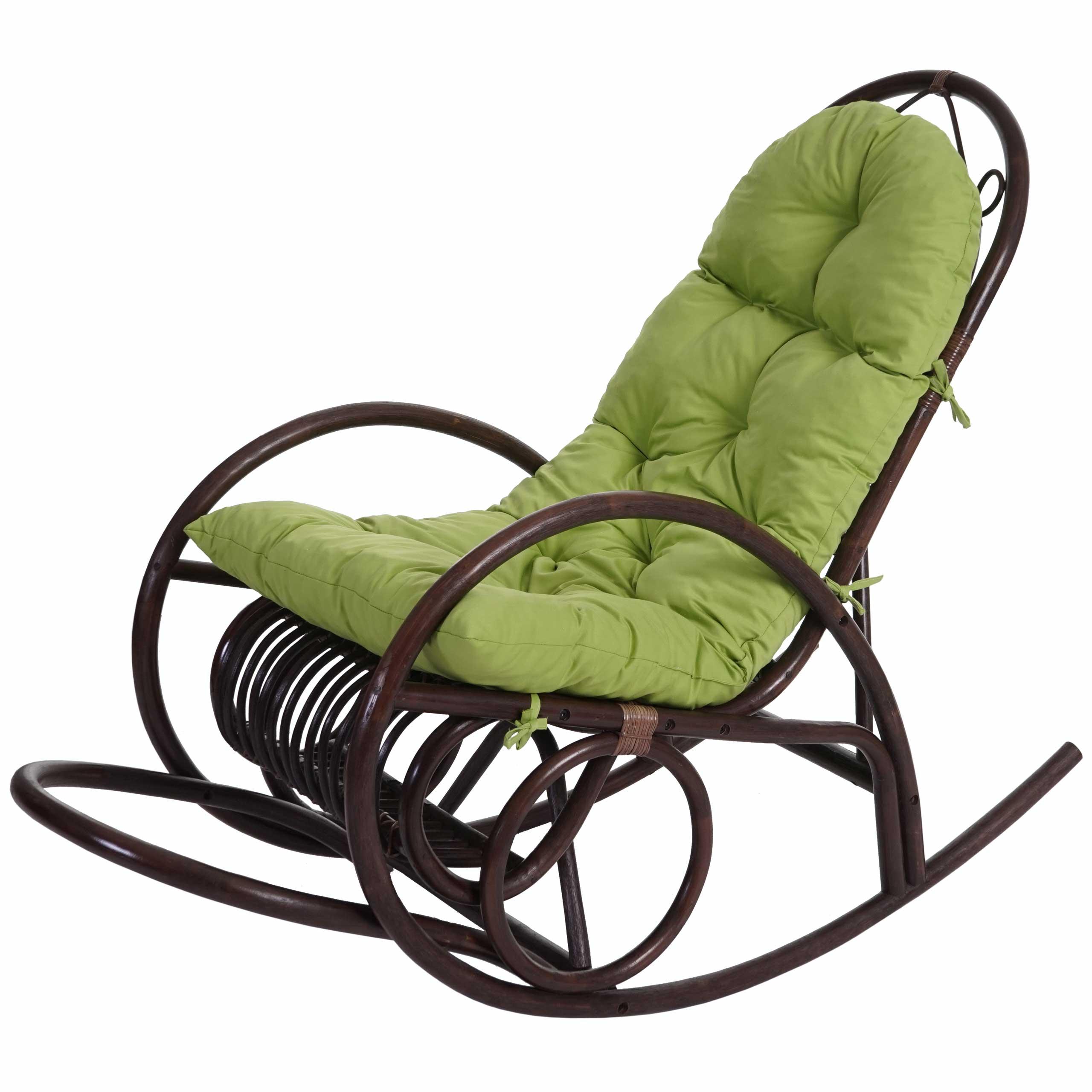 schaukelstuhl hwc c40 rattansessel schwingsessel braun mit auflage ebay. Black Bedroom Furniture Sets. Home Design Ideas