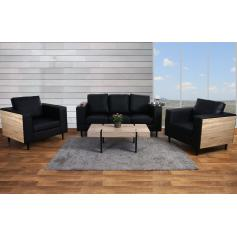 3-1-1 Sofagarnitur Nancy, Couch Loungesofa, Holz Eiche-Optik ~ Kunstleder, schwarz