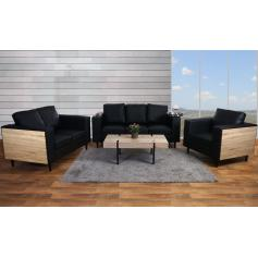 3-2-1 Sofagarnitur Nancy, Couch Loungesofa, Holz Eiche-Optik ~ Kunstleder, schwarz