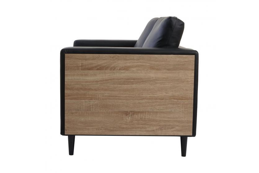 2er sofa cannes holz eiche optik kunstleder schwarz couch loungesofa ebay. Black Bedroom Furniture Sets. Home Design Ideas