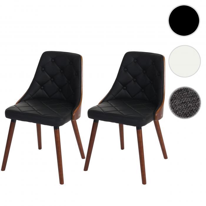 2x Esszimmerstuhl HWC A75, Besucherstuhl Küchenstuhl, Walnuss Optik Bugholz ~ Kunstleder schwarz
