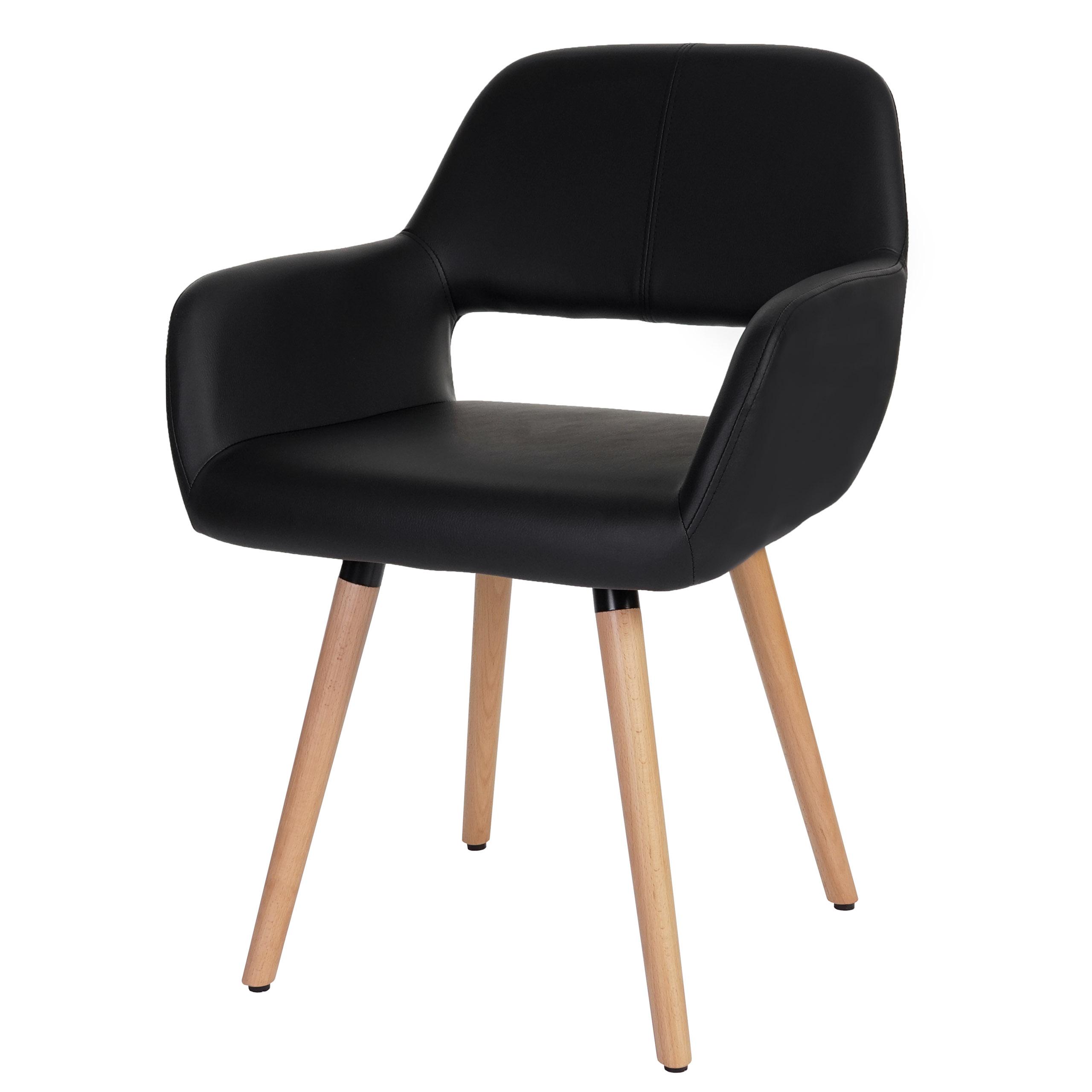 esszimmerstuhl hwc a50 ii stuhl lehnstuhl retro 50er jahre design kunstleder schwarz. Black Bedroom Furniture Sets. Home Design Ideas