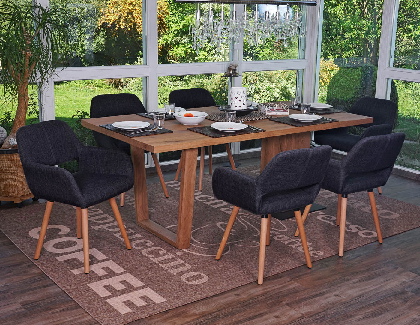 Set 6x sedie sala da pranzo hwc a50 ii design retro legno for Sedie sala pranzo