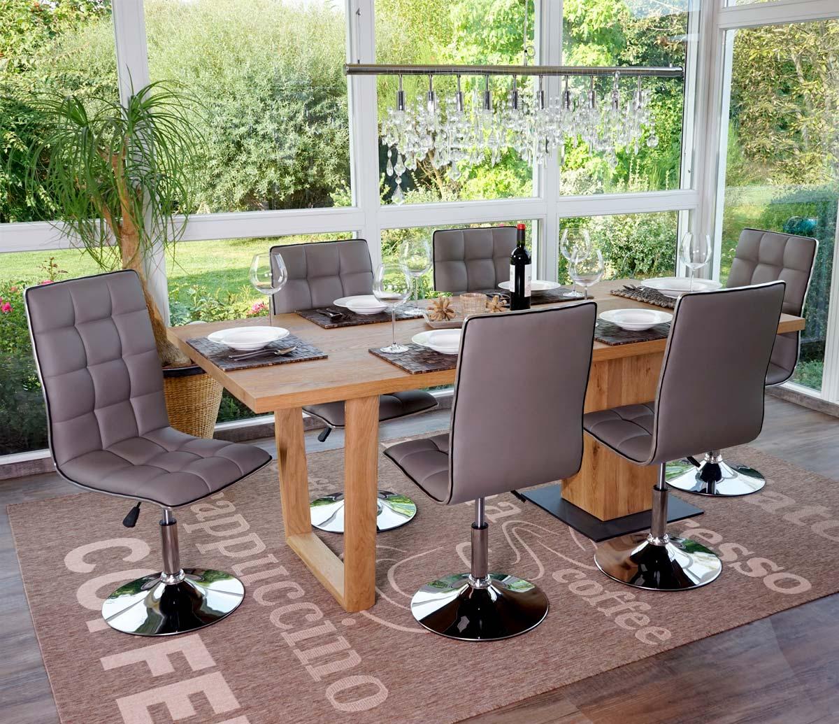 2x esszimmerstuhl hwc c41 stuhl lehnstuhl h henverstellbar drehbar kunstleder taupe. Black Bedroom Furniture Sets. Home Design Ideas