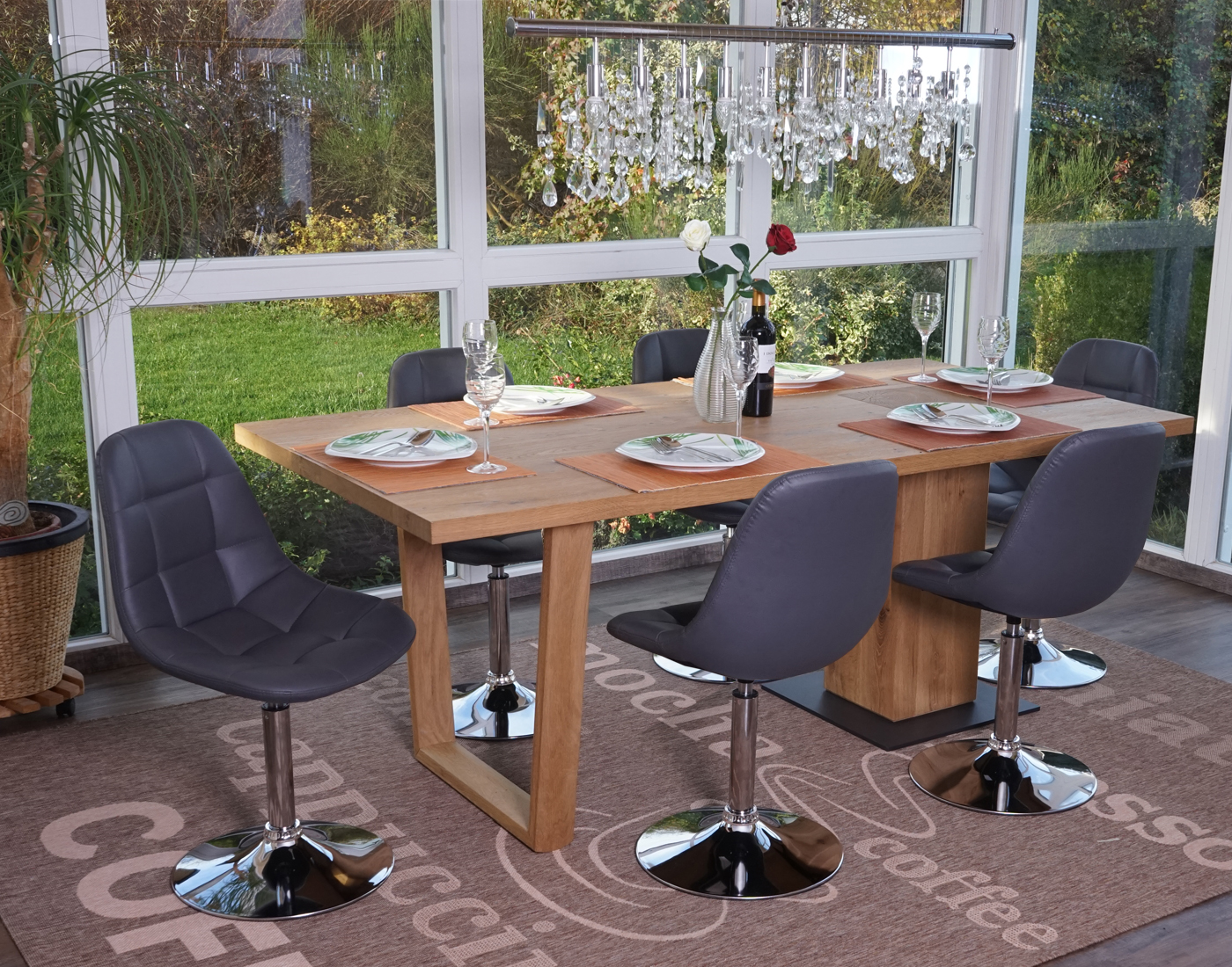 6x esszimmerstuhl hwc a60 drehstuhl stuhl chrom ebay for Esszimmerstuhl drehstuhl