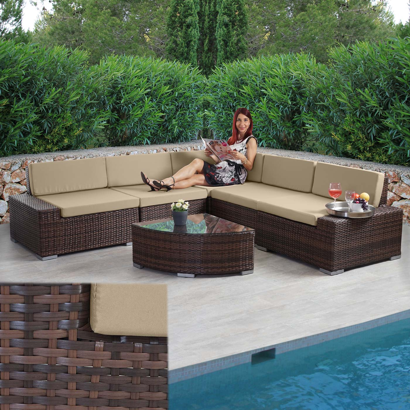 poly rattan garnitur sora gartengarnitur sitzgruppe. Black Bedroom Furniture Sets. Home Design Ideas