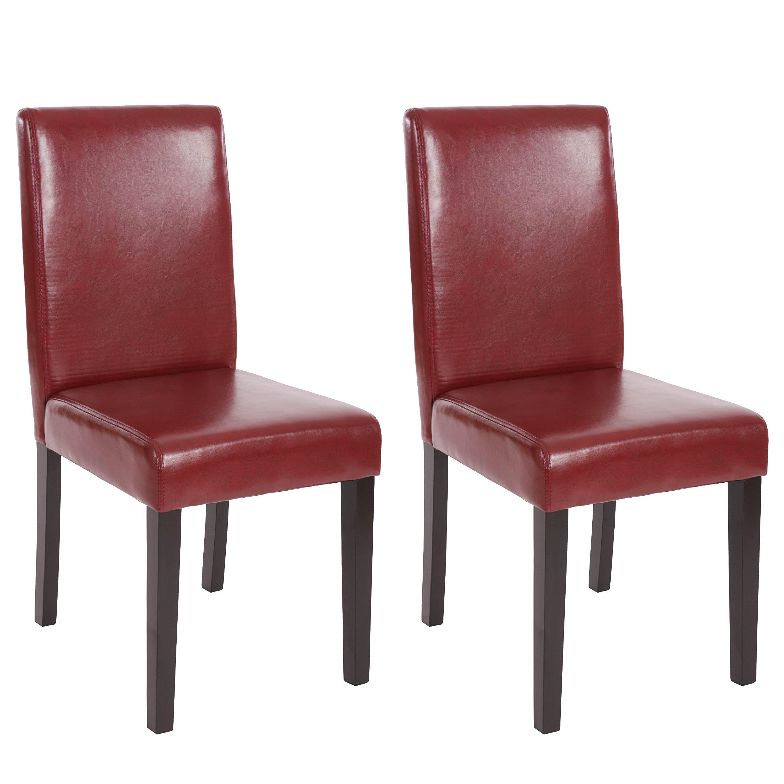 6x esszimmerstuhl stuhl lehnstuhl littau kunstleder rot braun dunkle beine. Black Bedroom Furniture Sets. Home Design Ideas