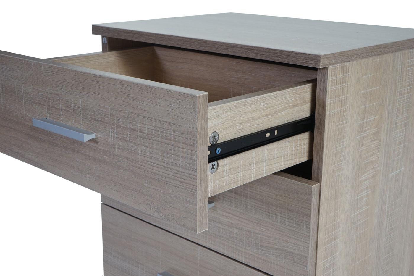 kommode pavia nachtschrank nachttisch 3 schubladen 50x45x34cm eiche optik. Black Bedroom Furniture Sets. Home Design Ideas
