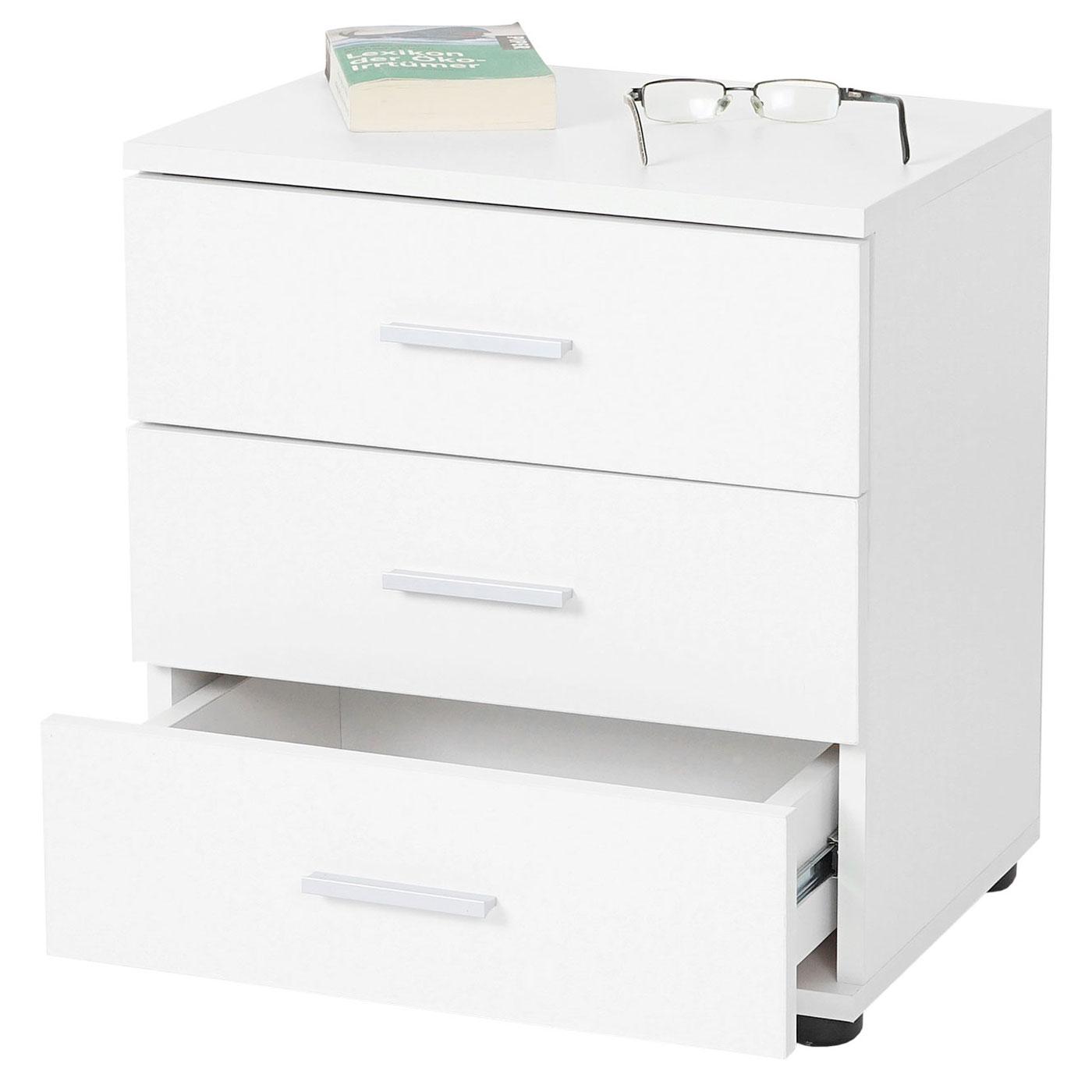 kommode pavia nachtschrank nachttisch 3 schubladen 50x45x34cm wei. Black Bedroom Furniture Sets. Home Design Ideas