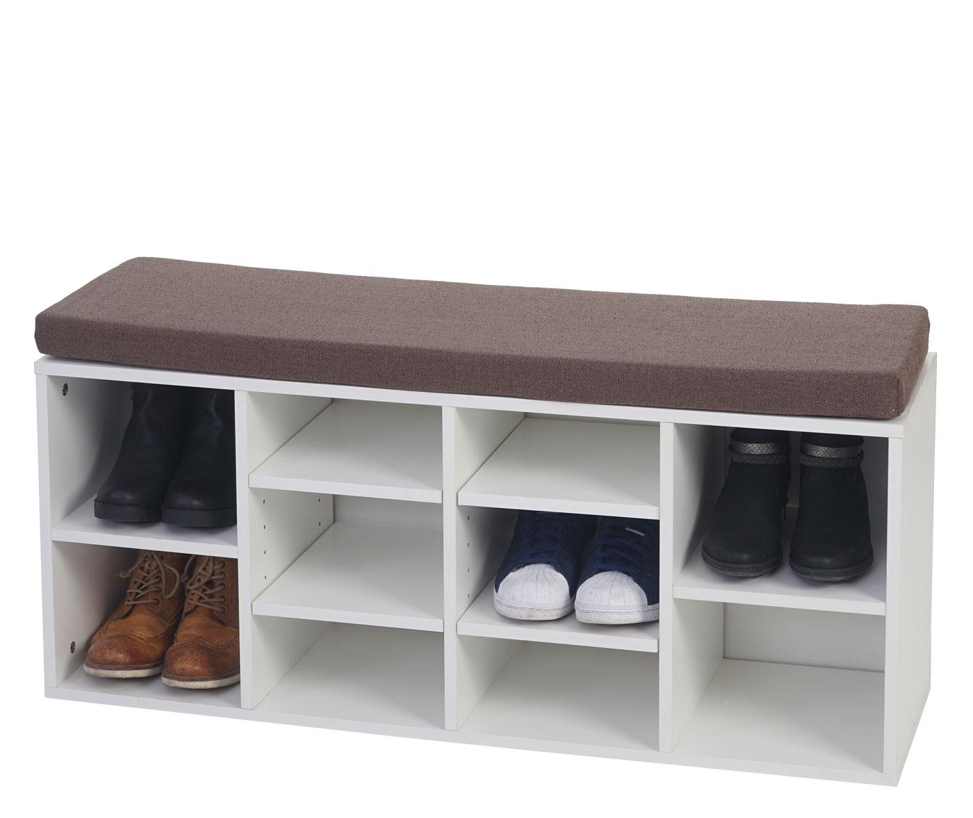 Brisbane, Schuhschrank Regal + Sitzkissen, 49x104x29cm