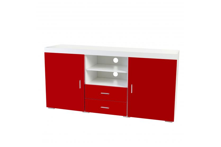 kommode portland sideboard highboard hochglanz 160x80x40cm rot. Black Bedroom Furniture Sets. Home Design Ideas