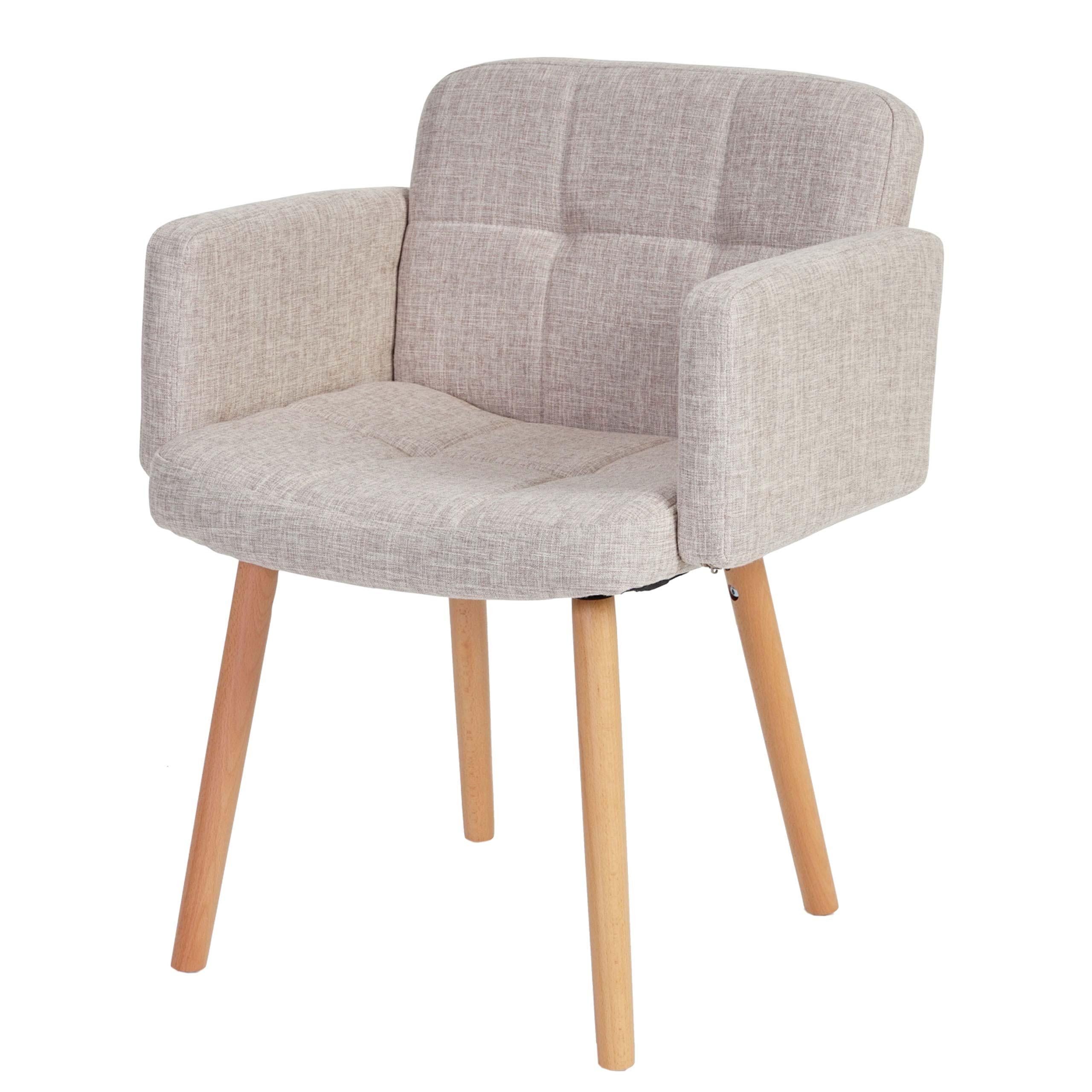 Design Esszimmerstuhl orlando ii stuhl lehnstuhl retro design textil creme grau