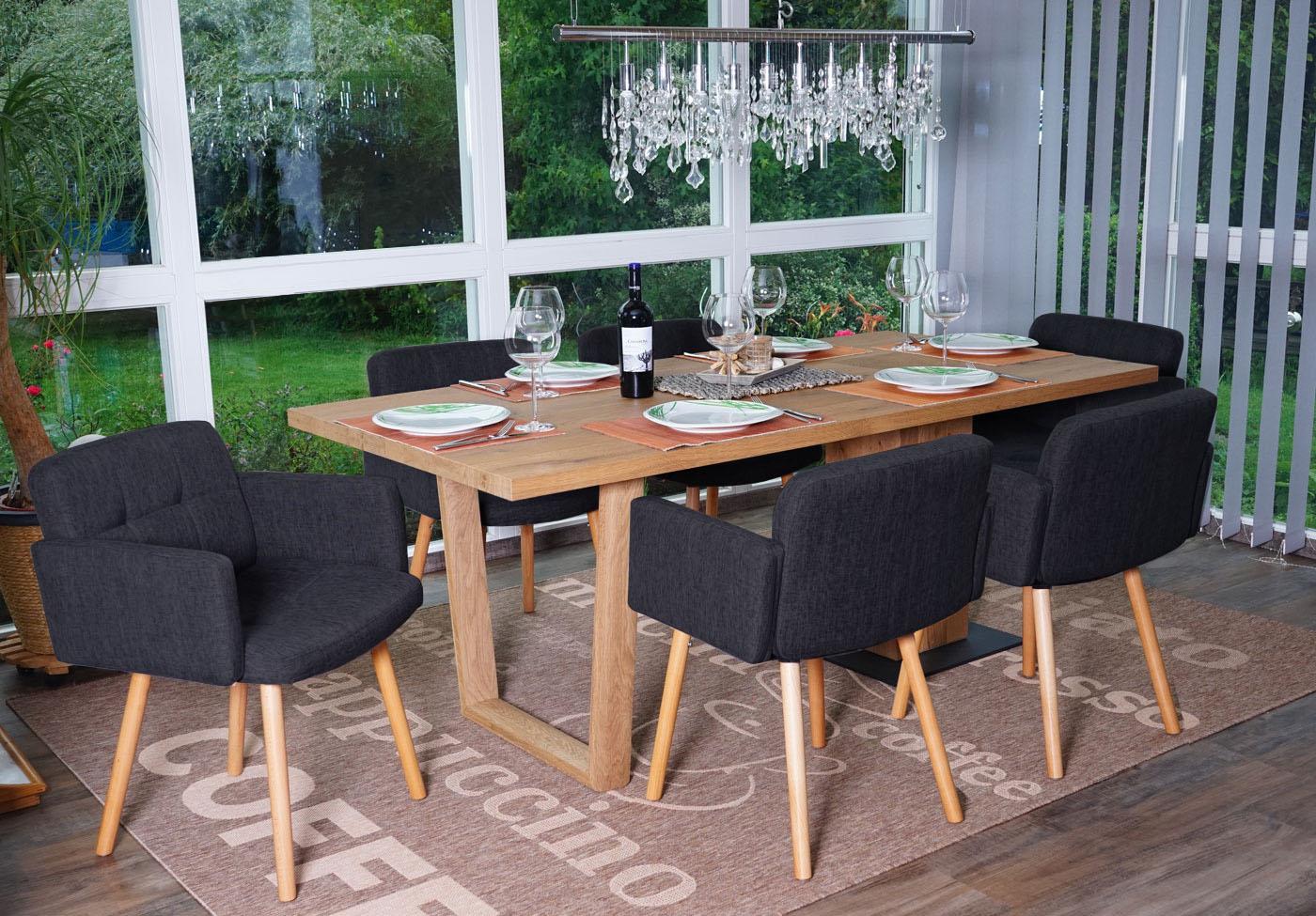 Set 6x sedie sala da pranzo soggiorno orlando ii tessuto legno grigio scuro d ebay - Sedie da sala da pranzo ...
