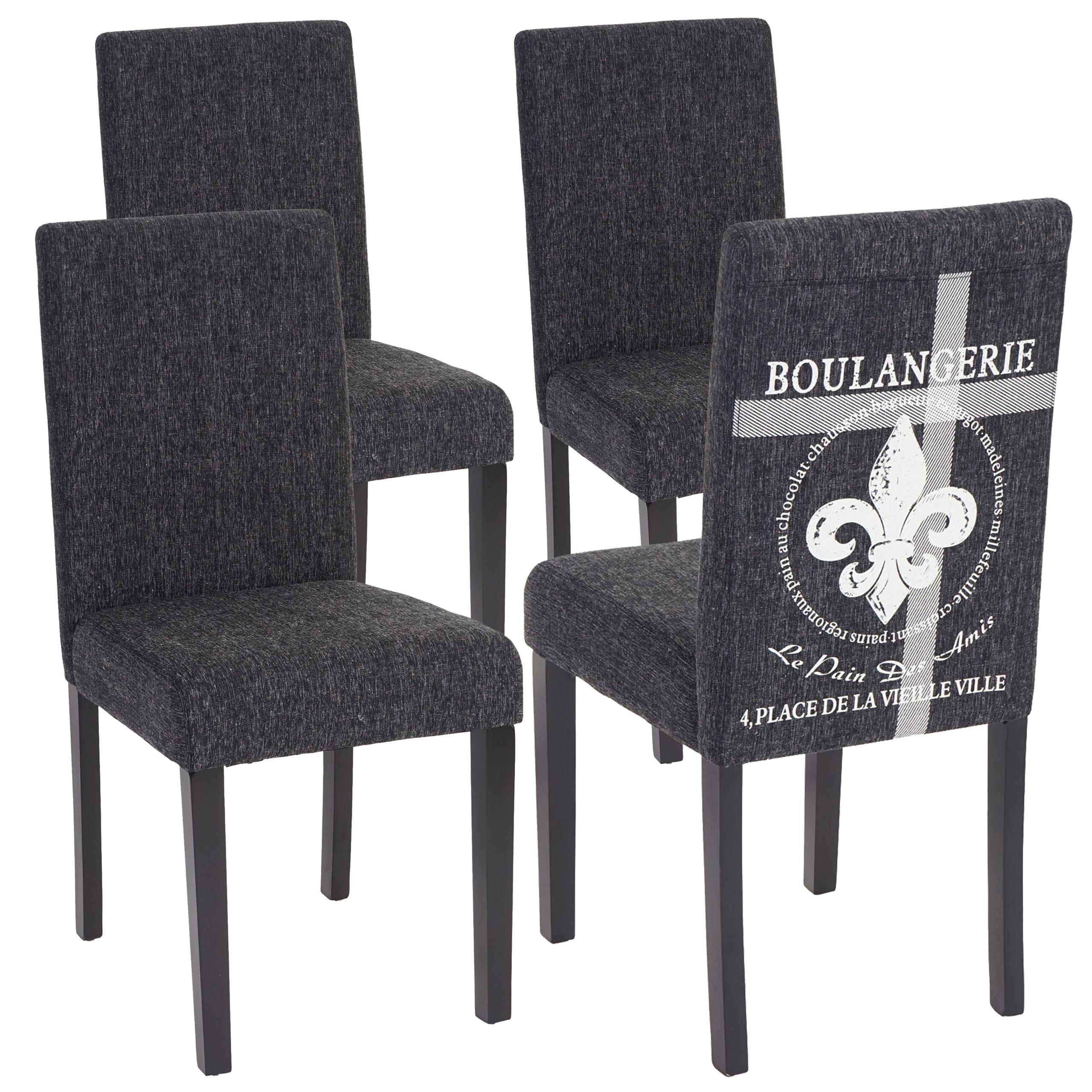 Set 4x sedie Littau tessuto per sala da pranzo 43x56x90cm | eBay