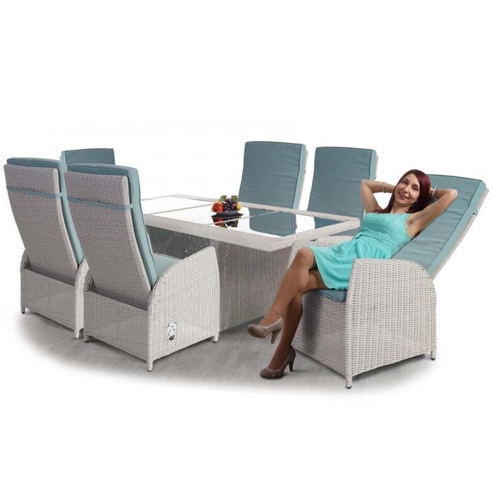 AuBergewohnlich Luxus Poly Rattan Garnitur Badalona, Premium Alu Sitzgruppe Tisch + 6  Verstellbare Stühle ~ Hellgrau
