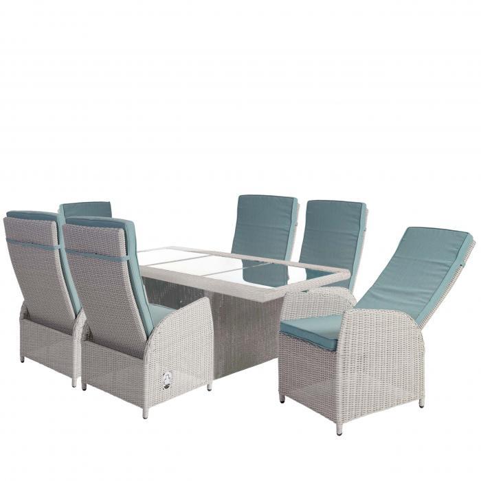 Luxus Poly Rattan Garnitur Badalona, Premium Alu Sitzgruppe Tisch + 6  Verstellbare Stühle ~ Hellgrau