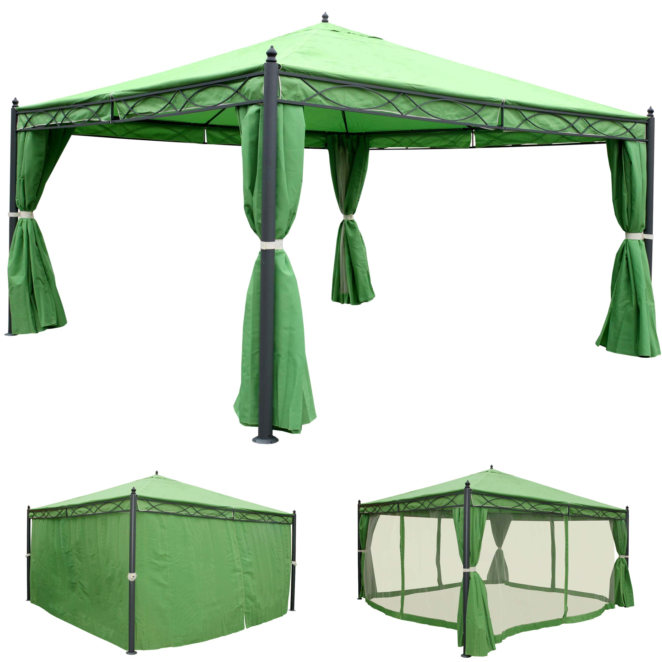 pergola cadiz garten pavillon 7cm gestell mit seitenwand moskitonetz ebay. Black Bedroom Furniture Sets. Home Design Ideas