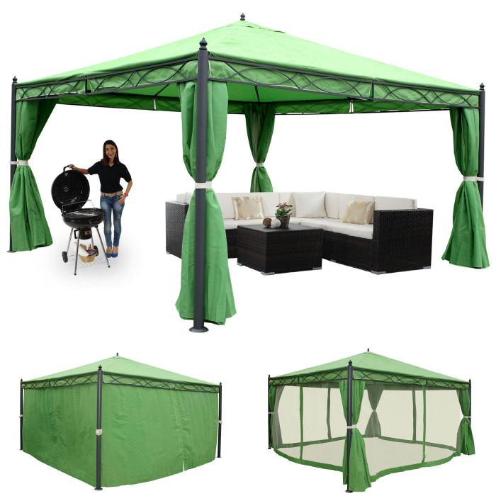 pergola cadiz garten pavillon stabiles 7cm gestell mit seitenwand moskitonetz gr n 4x4m. Black Bedroom Furniture Sets. Home Design Ideas