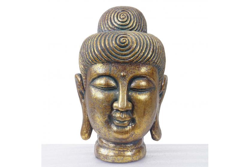 xl deko figur buddha 38cm polyresin skulptur kopf in. Black Bedroom Furniture Sets. Home Design Ideas