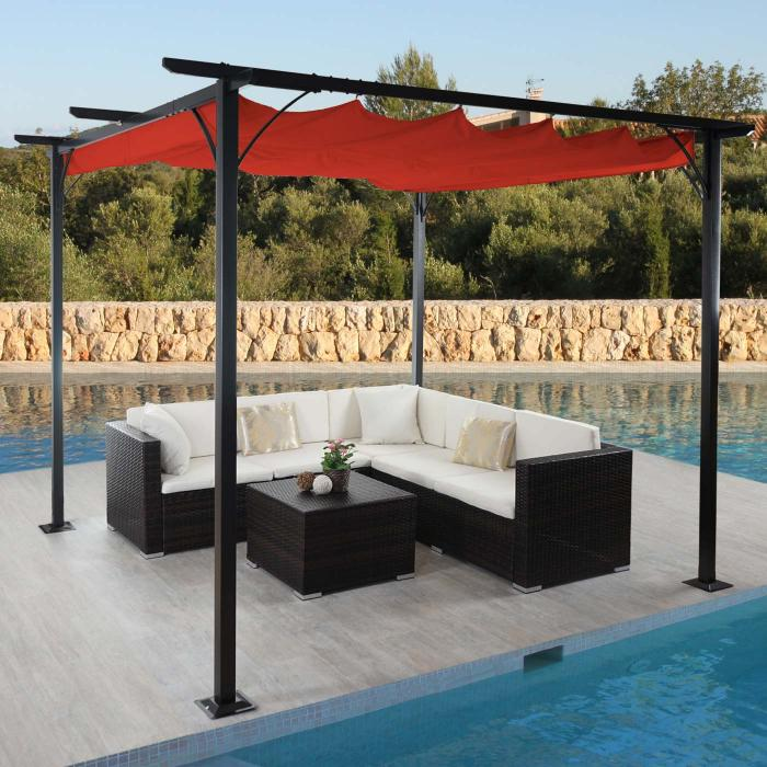 pergola hwc c42 garten pavillon stabiles 6cm gestell schiebedach 3x3m terrakotta. Black Bedroom Furniture Sets. Home Design Ideas