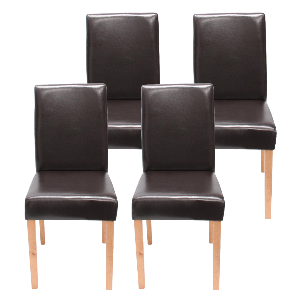 4x esszimmerstuhl stuhl littau leder kunstleder helle dunkle beine ebay. Black Bedroom Furniture Sets. Home Design Ideas