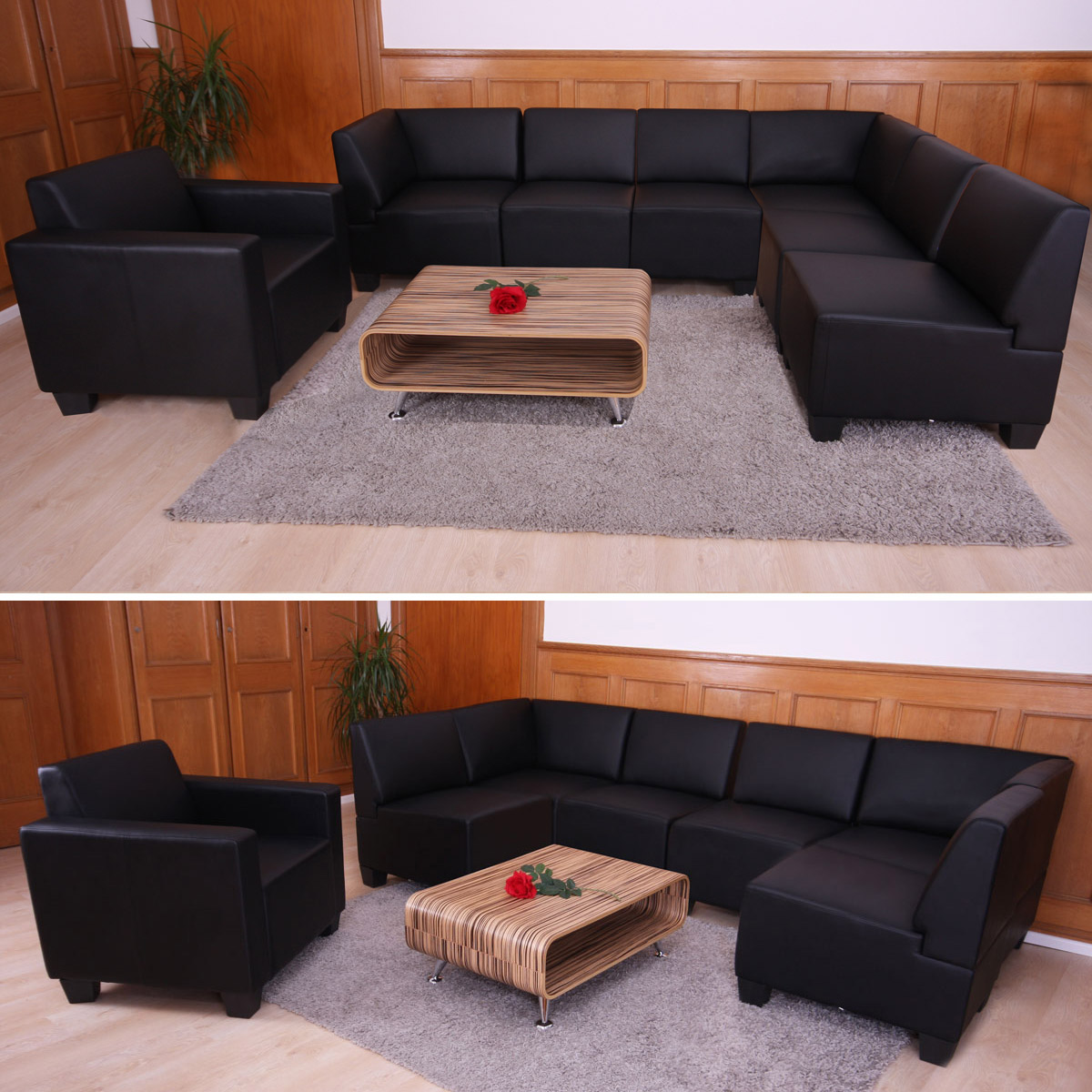 modular sofa system couch garnitur lyon 6 1 kunstleder schwarz. Black Bedroom Furniture Sets. Home Design Ideas