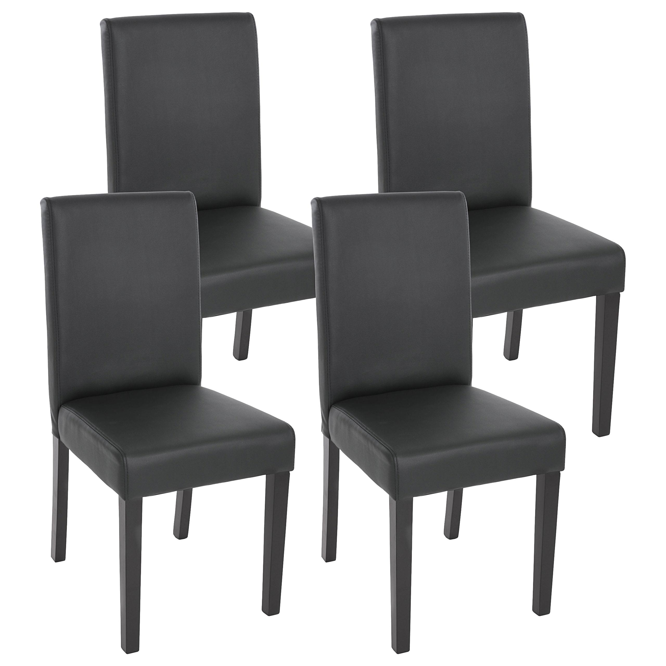 rot-braun 4x Esszimmerstuhl Stuhl Lehnstuhl Littau Kunstleder dunkle Beine