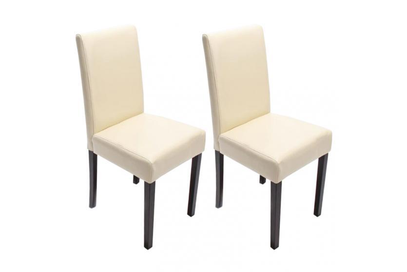 2x Esszimmerstuhl Stuhl Küchenstuhl Littau ~ Leder, creme, dunkle Beine