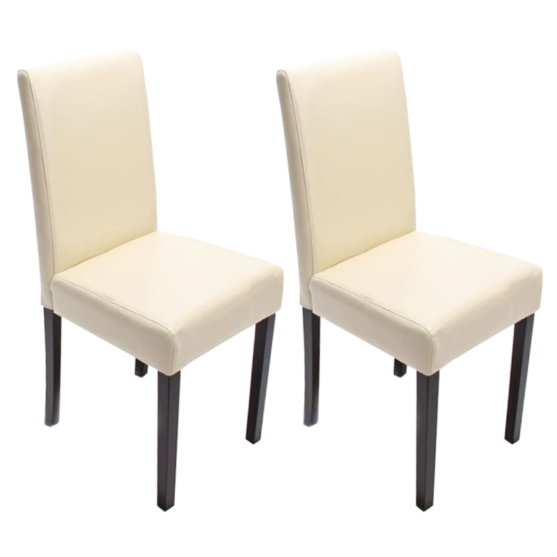 Stühle weiss leder  2x Esszimmerstuhl Stuhl Lehnstuhl Littau ~ Leder, creme, dunkle Beine