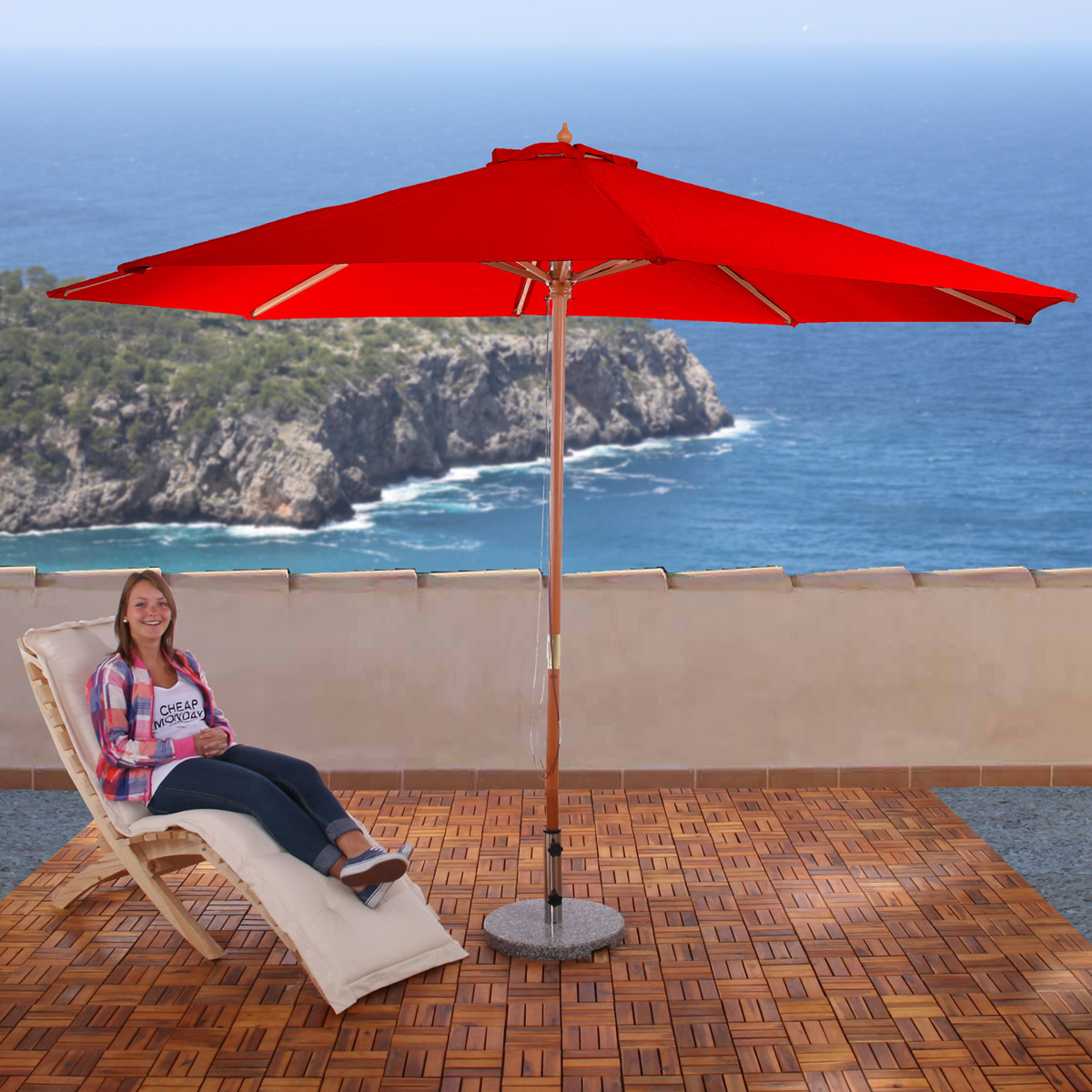 sonnenschirm florida gartenschirm marktschirm 3 5m polyester holz 7kg bordeau. Black Bedroom Furniture Sets. Home Design Ideas