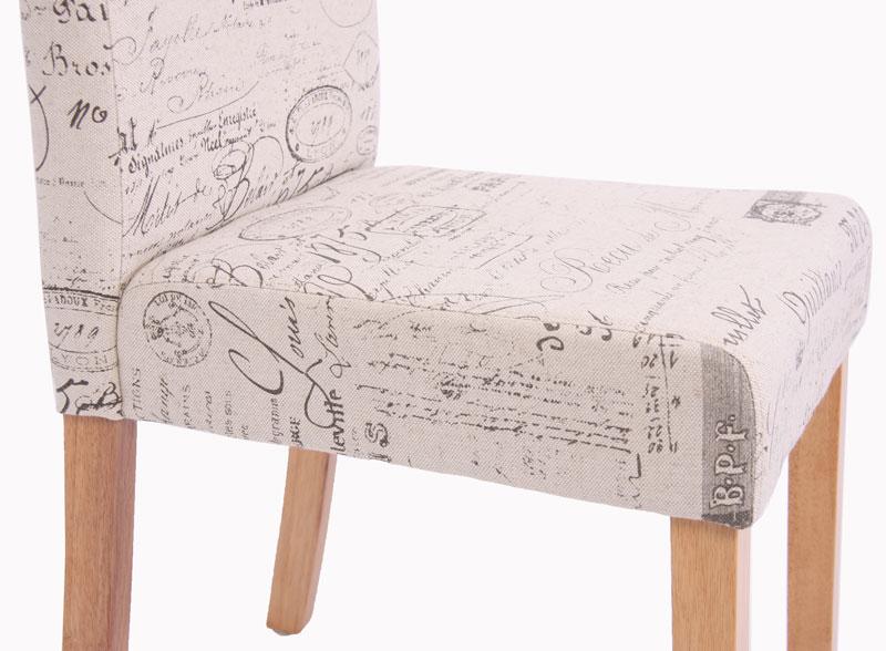 Esszimmerstuhl Littau, Stoff mit modernen Schriftzügen
