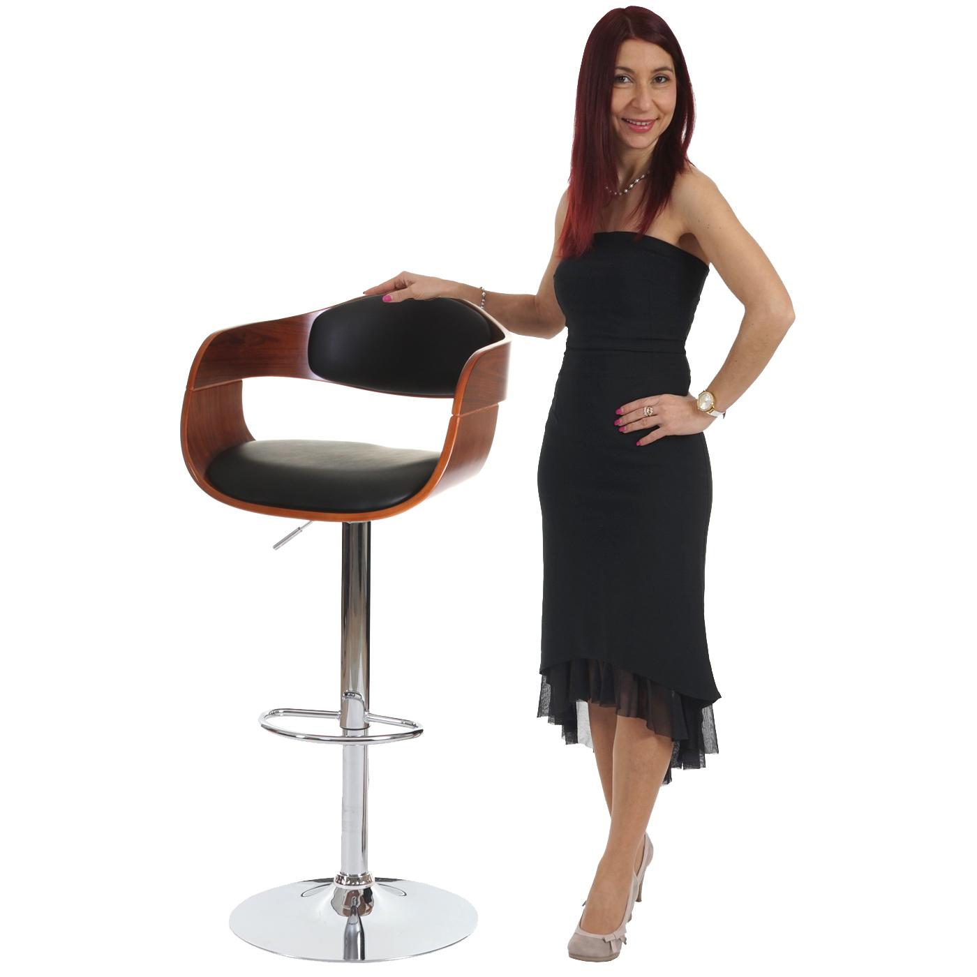 barhocker hwc a47 barstuhl holz bugholz retro design walnuss optik kunstleder schwarz. Black Bedroom Furniture Sets. Home Design Ideas