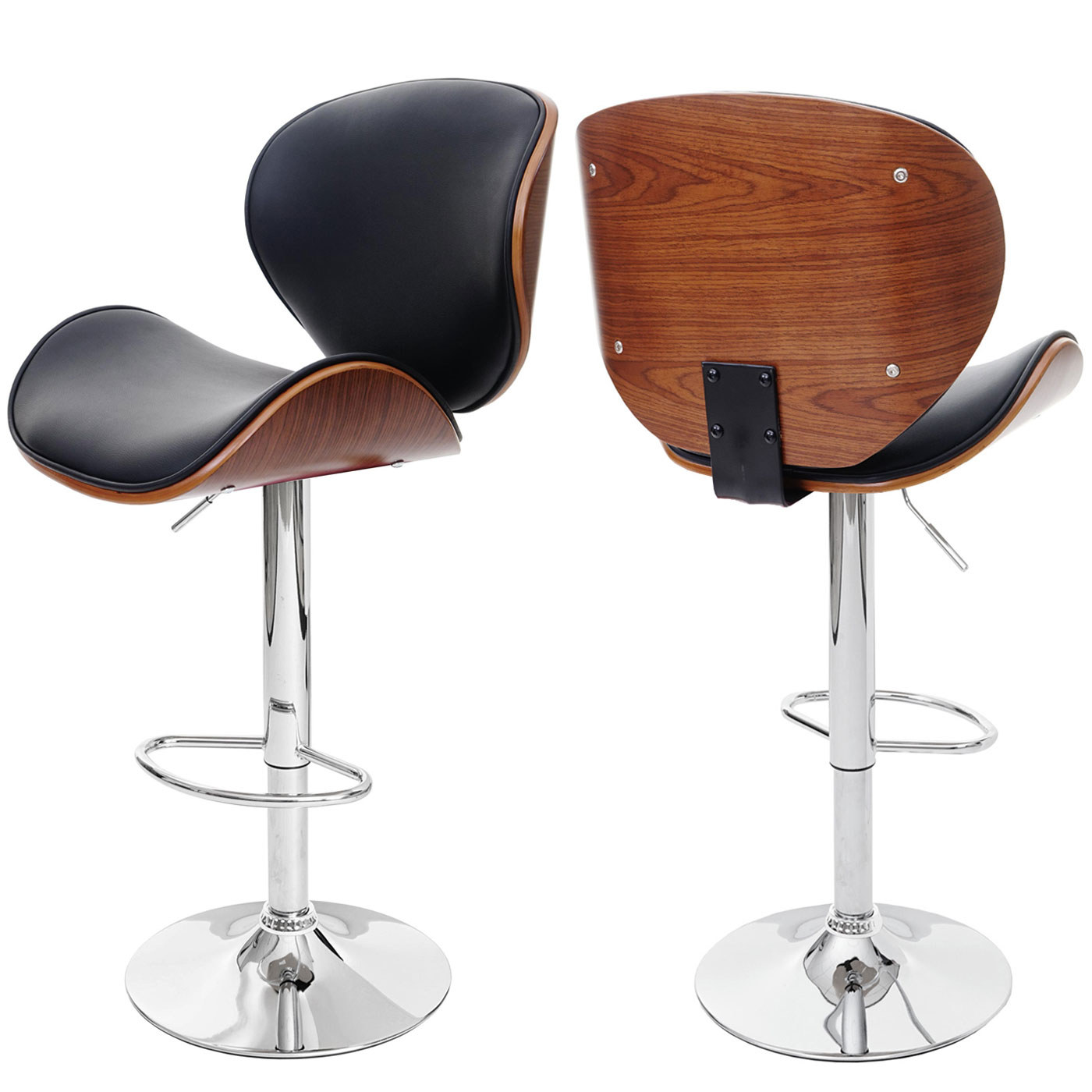 barhocker foxrock barstuhl holz bugholz retro design walnuss optik schwarz. Black Bedroom Furniture Sets. Home Design Ideas